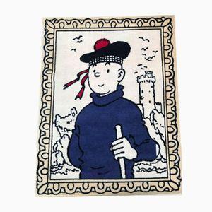 Tapis Tintin L'île Noir Vintage par Hergé for Axis, 1980s