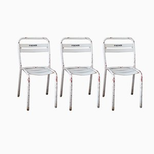 Industrial White Chairs from Tolix, Set of 3
