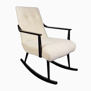 Mid-Century Sheep Wool Rocking Chair