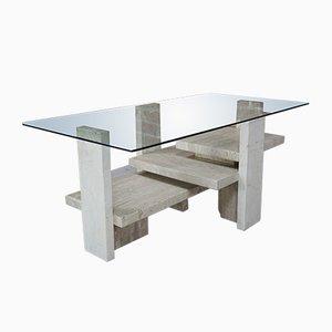 Tisch mit Glasplatte von Willy Ballez, 1970