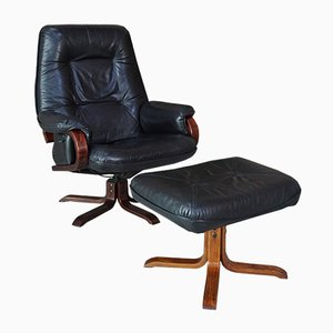 Vintage Reclining Leather Armchair & Ottoman