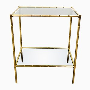Vintage Smoked Glass & Brass Table, 1950s
