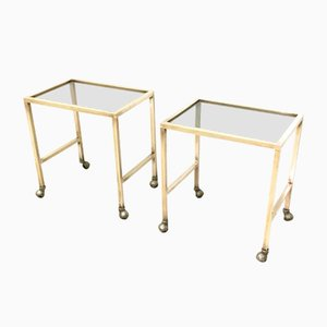 Brass and Smoked Glass Nightstands on Casters, 1970s, Set of 2
