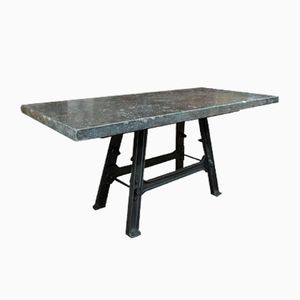 Industrial Console Table with Stone Top, 1920s