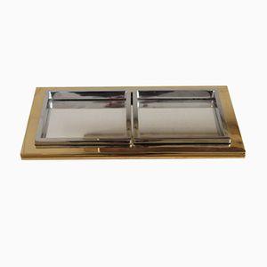 Belgisches Doppel- Tablett aus Nickel mit Gold Ausführung von Belgo Chrom / Dewulf Selection, 1970er