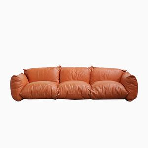 Vintage Italian Leather Sofa by Mario Marengo for Arflex