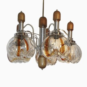 Large Chandelier with 5 Globes from Mazzega, 1970s