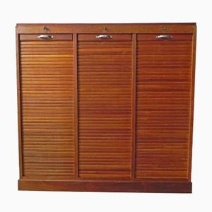 Mid-Century Oak Shutter Cupboard with 3 Doors