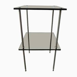 Vintage Side Table with 2 Glass Plates