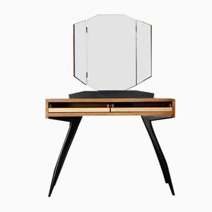 Scandinavian Brutalist Dressing Table with Folding Mirror, 1960s