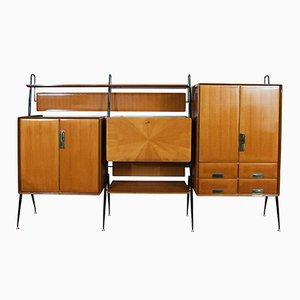 Mobile con scomparti, mensole e cassettiera Mid-Century di Silvio Cavatorta