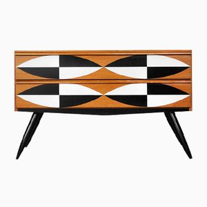 Swedish Low Cabinet with Pattern, 1960s