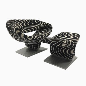 Mid Century Ribbon Chair With Pouf By Pierre Paulin For Artifort