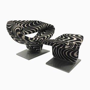 Mid-Century Ribbon Sessel mit Pouf von Pierre Paulin für Artifort