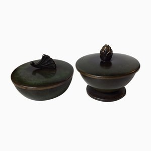 Art Deco Patinated Bronze Trinkets by Ildfast, 1930s, Set of 2