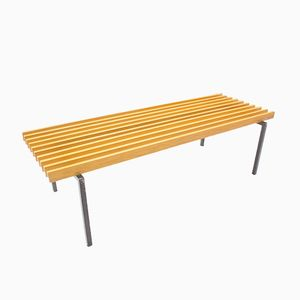 Minimalist Bench on Square Tube Metal Frame, 1960s