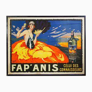 Vintage Fap' Anis Lithografie Poster von Henry Delval für Publicité Wall
