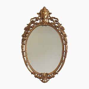 Antiker Ovaler Spiegel mit Messingrahmen