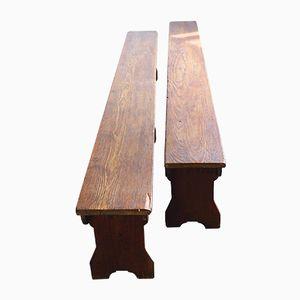 Panche antiche in legno di conifera, set di 2