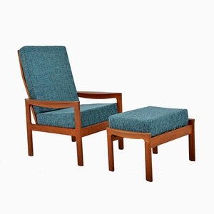 Scandinavian Armchair and Ottoman, 1960s