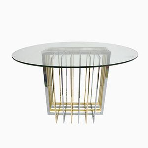 Vintage Metal and Glass Dining Table