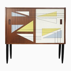 Norwegian Teak Cabinet with Hand-Painted Pattern, 1960s