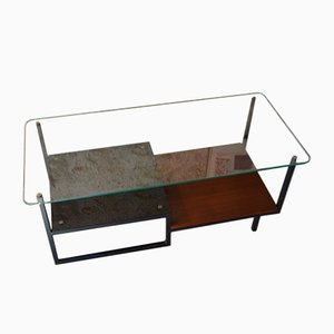 Mid-Century Glass & Teak Coffee Table by Georges Frydman for EFA