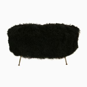 Mid-Century Italian Wooden and Goat Fur Bench