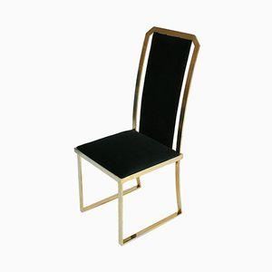 Vermessingte Italienische Vintage Stühle mit Samtbezug, 4er Set
