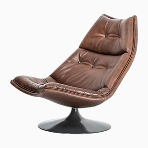 Vintage Buffalo Leather F591 Chair by Geoffrey Harcourt for Artifort