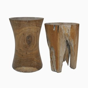 French Side Tables in Fossil Wood, 1940s, Set of 2