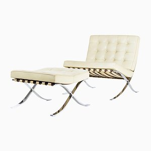 Vintage Barcelona Chair and Ottoman by Ludwig Mies van der Rohe for Knoll