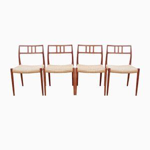Dänische Modell 79 Teak Stühle von Niels O. Møller für J.L. Møllers, 1980er, 4er Set