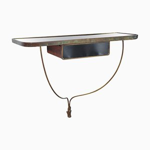 Italian Brass and Black Crystal Console Table, 1930s