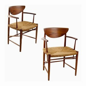 317 Armlehnstühle von Peter Hvidt & Orla Mølgaard Nielsen für Søborg Møbelfabrik, 1950er, 2er Set