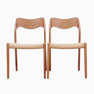 Dänische Modell 71 Stühle aus Eiche von Niels O. Møller für J.L. Møllers, 1980er, 2er Set