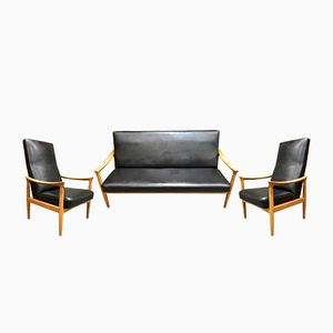 Living Room Set with Sofa & 2 Armchairs from Fritz Hansen