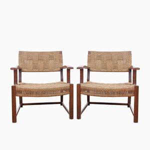 Mid-Century Woven Sea Grass Armchairs, 1950s, Set of 2