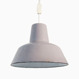Industrial Light Grey Enameled Pendant Lamp