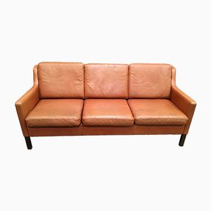 Vintage Scandinavian Cognac Leather Three-Seater Sofa