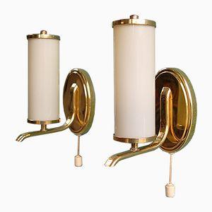 Röhrenförmige Art Deco Wandlampen, 1930er, 2er Set