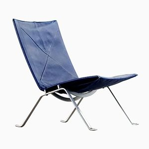 Blue PK 22 Lounge Chair by Poul Kjaerholm for E. Kold Christensen, 1960