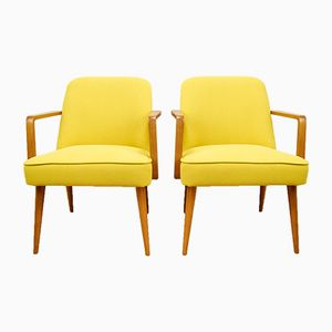 Small Yellow German Armchairs, 1960s, Set of 2