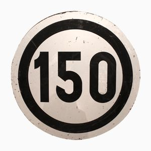 Großes Vintage Tempolimit 150 Eisenbahn Schild