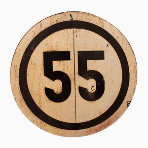 Segnale stradale di limite di velocità 55 vintage