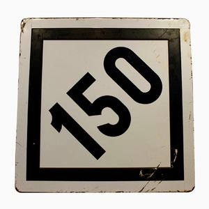 Grand Panneau de Route Limitation de Vitesse 150 km/h Vintage