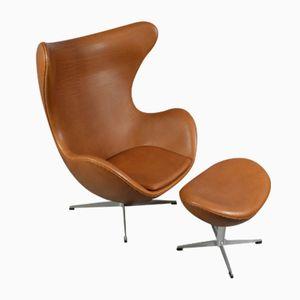 Egg Chair aus Leder mit Ottomane von Arne Jacobsen für Fritz Hansen, 1970er