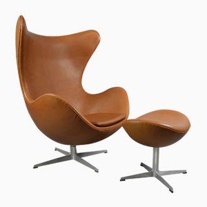 Leder Egg Chair mit Ottomane von Arne Jacobsen für Fritz Hansen, 1970er