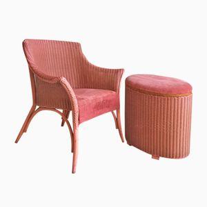 Lusty Sessel und Leinenkorb von Lloyd Loom, 1950er