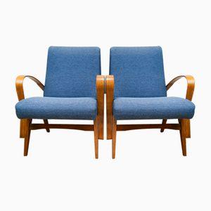 Blaue Tschechische Sessel, 1960er, 2er Set
